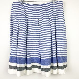 Talbots Linen Striped Skirt Blue White Nautical 16